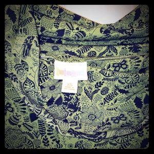 LuLaRoe maxi skirt green with black pattern
